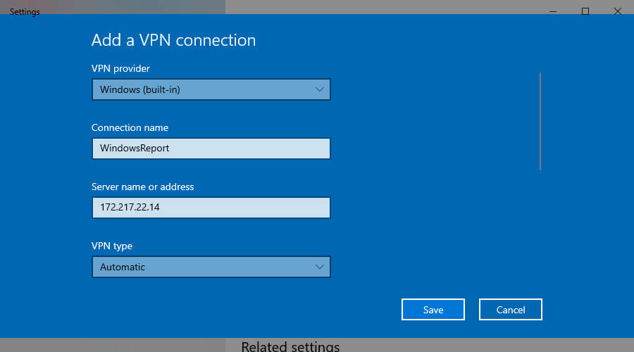 add a VPN connection in Windows 10
