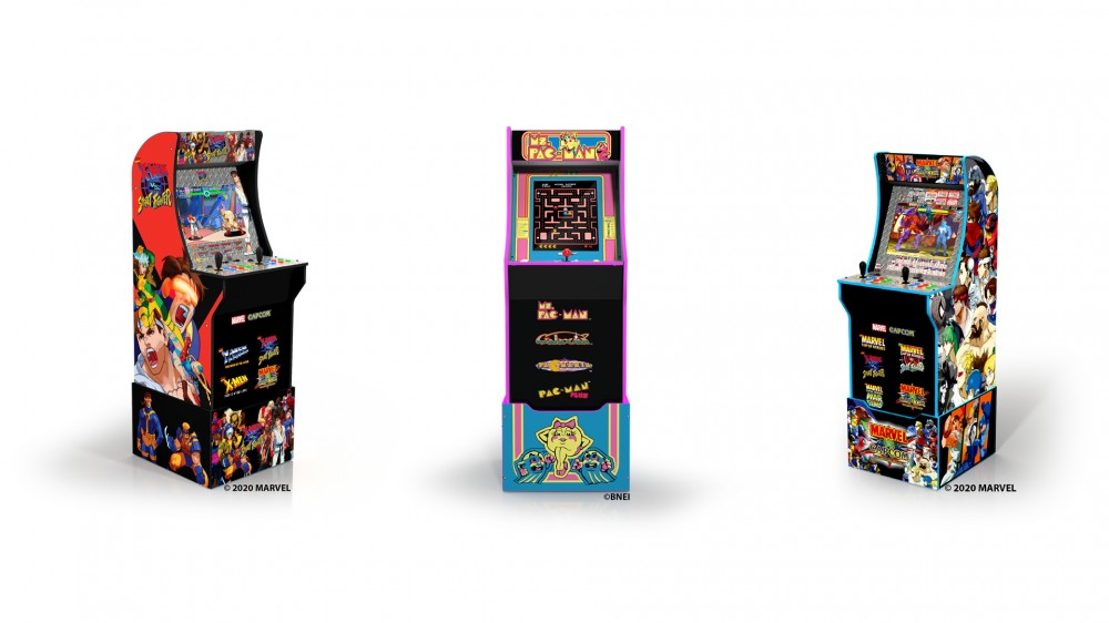 Ms. Pac-Man, X-men vs. Street Fighter, and Marvel vs. Capcom3/4th scale cabinets standing in a row.