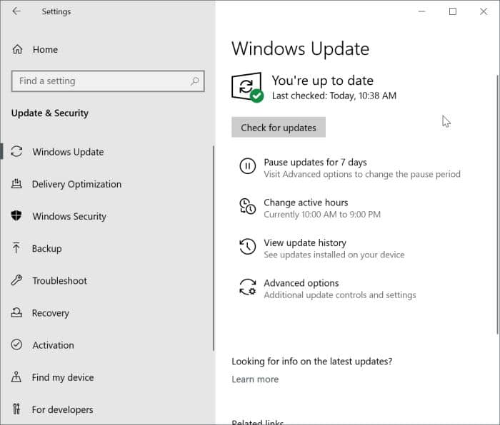 View optional updates link missing in Windows 10 pic2