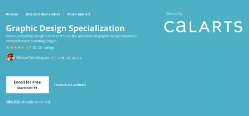 """Screenshot of """"graphic design specialization"""" web page"""