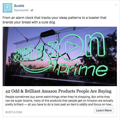 bustle facebook ad boosted post