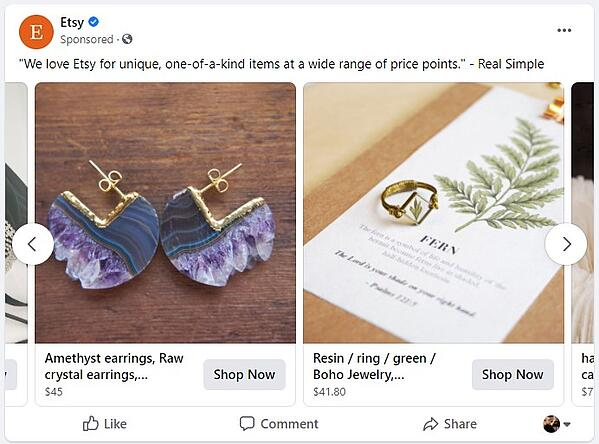 dynamic product ad by etsy