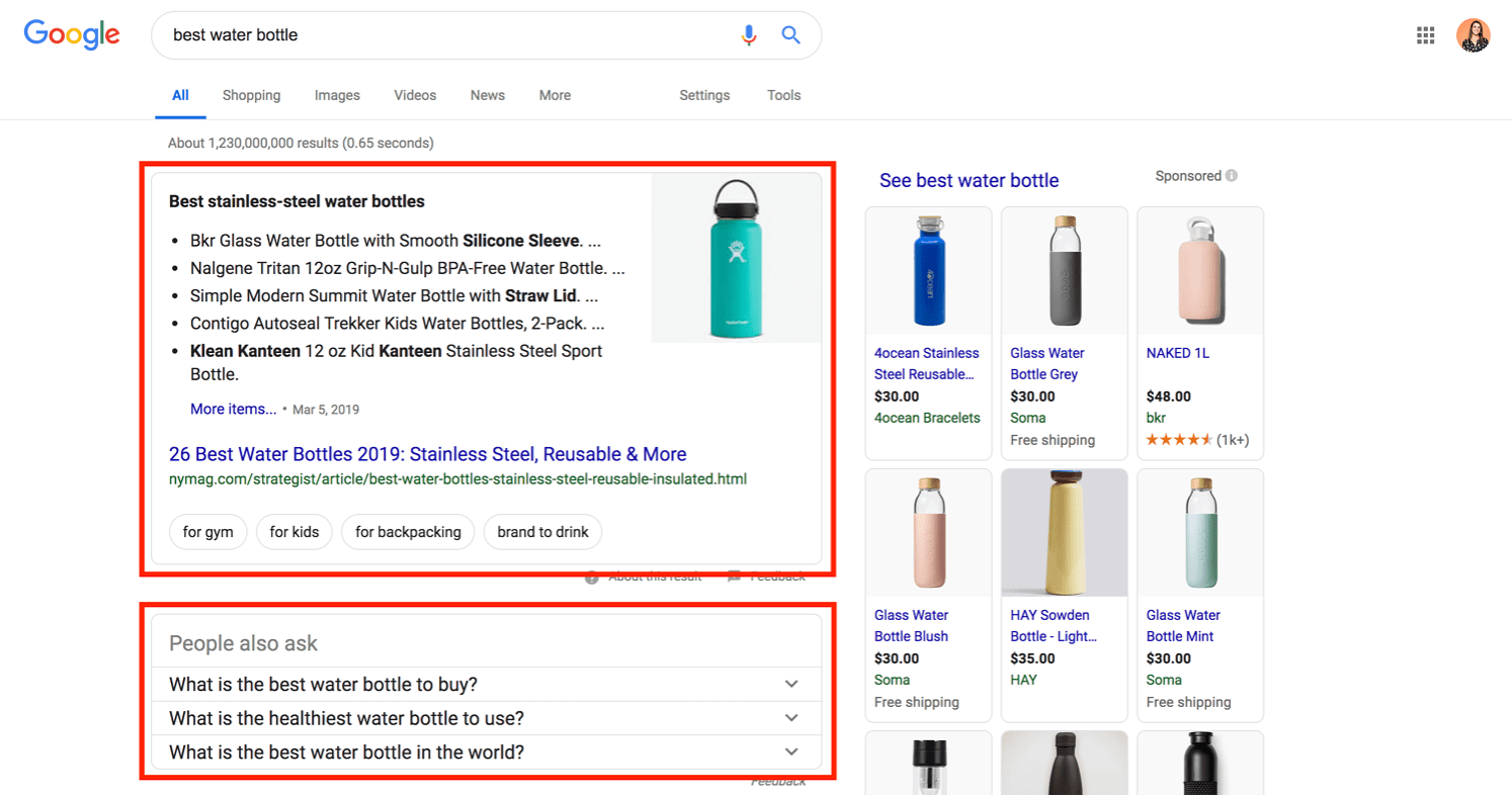 featured snippet results for best water bottle search query