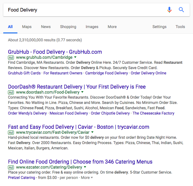 """Google Search Ads for """"Food Delivery"""""""