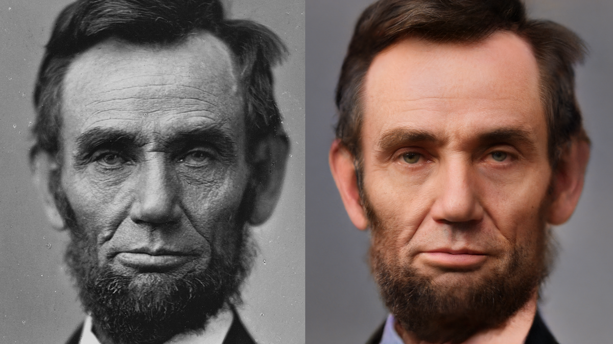 An AI-colorized Abe Lincoln