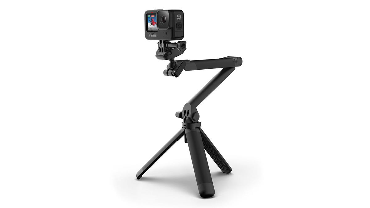 A GoPro on a 3-Way mount in tripod mode