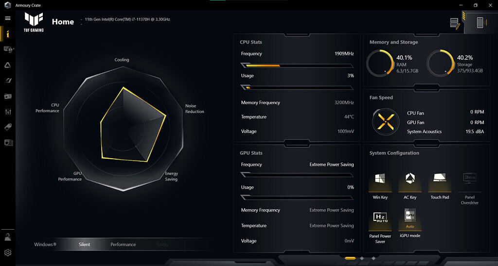 ASUS Tuf Dash F15 Armory Crate software