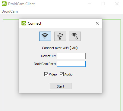 DrdoiCam PC client asking for the WiFi IP address and Port values