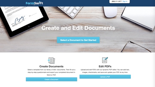Home page of FormSwift