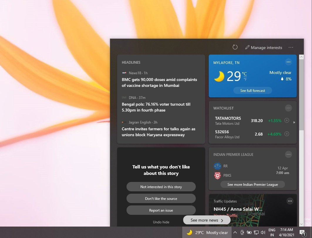 Microsoft's upcomingNews and Interests feature