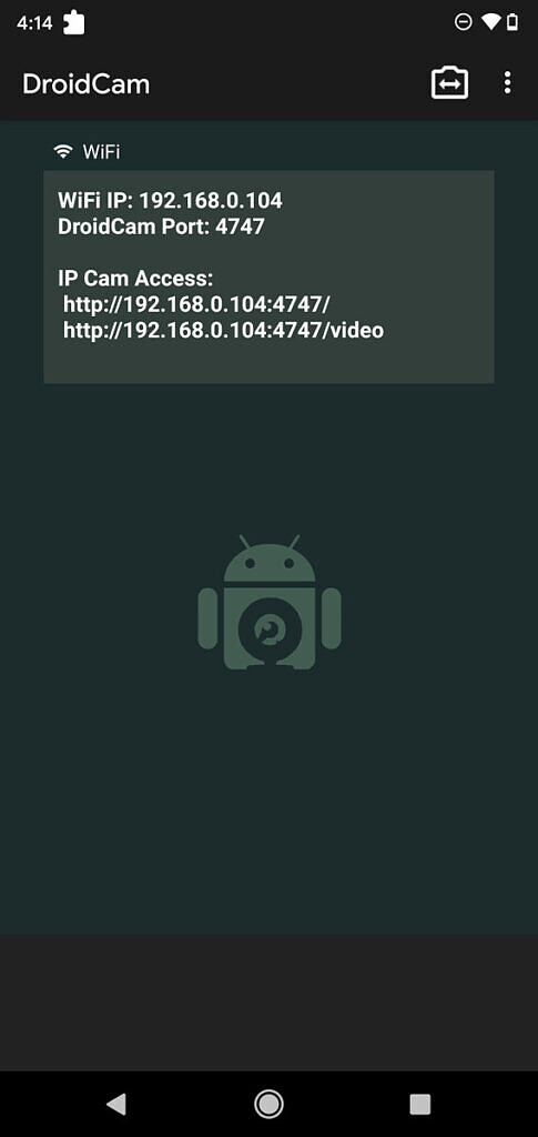 DroidCam Android app listing IP address and port details