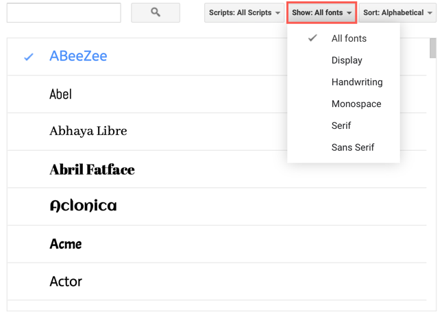 """Click """"Show"""" to filter fonts by style"""
