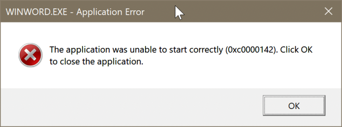 The application was unable to start correctly error in Office 365 pic01