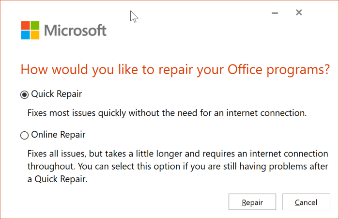 The application was unable to start correctly error in Office 365 pic2