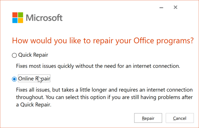 The application was unable to start correctly error in Office 365 pic3