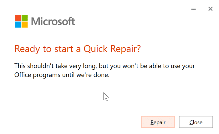 The application was unable to start correctly error in Office 365 pic4