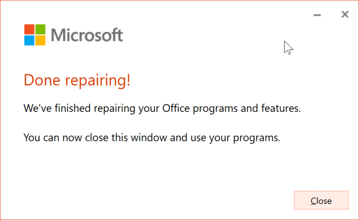 The application was unable to start correctly error in Office 365 pic6