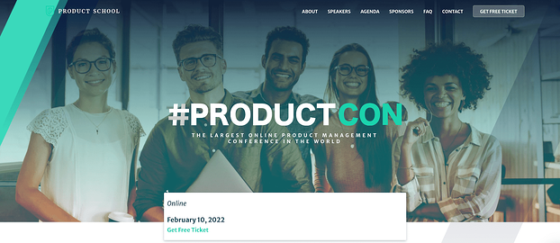 The ProductCon conference website homepage design