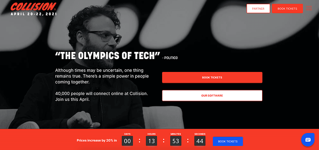 The collision conference website homepage design