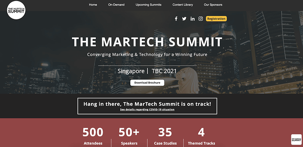 The martech conference website homepage design