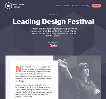 The leading design festival conference website homepage