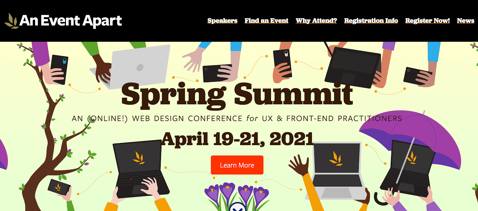 The event apart conference website homepage design
