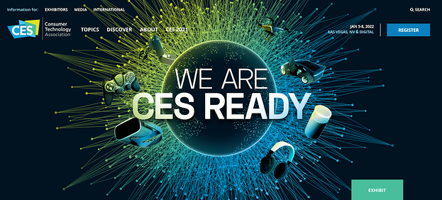 The CES conference website homepage design