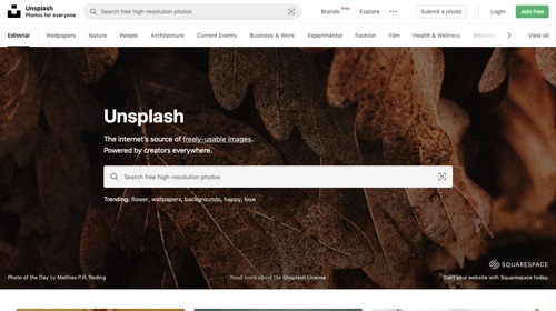 Home page of Unsplash