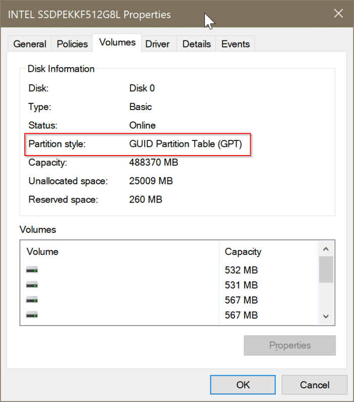 check if a disk is GPT or MBR in Windows 10 pic3
