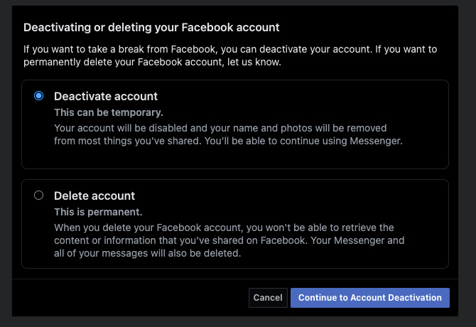Option screen to choose between deactivating or deleting your facebook account
