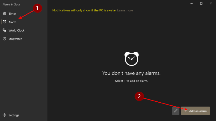 how to use alarms in Windows 10 pic2