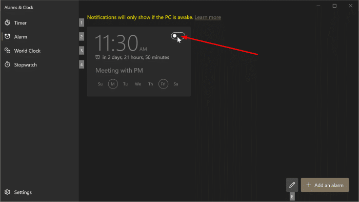 how to use alarms in Windows 10 pic5