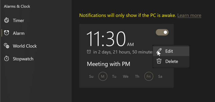 how to use alarms in Windows 10 pic6