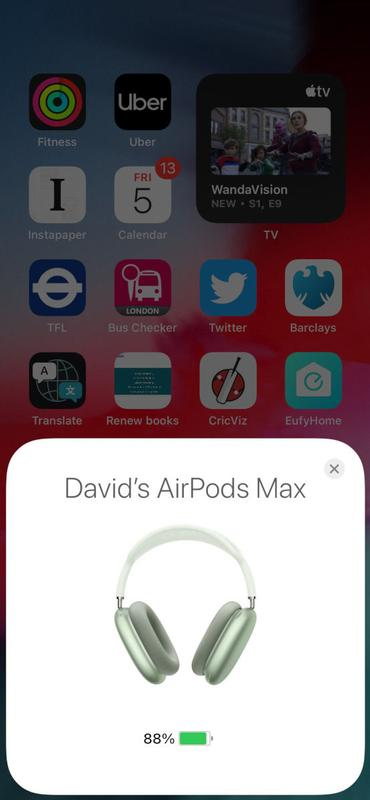 How to check AirPods Max battery level: Info box on iPhone