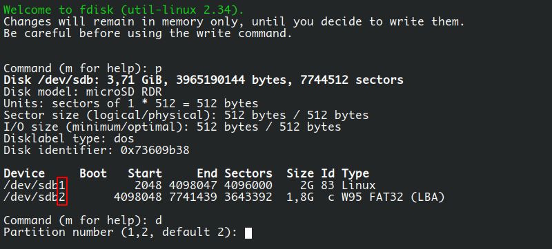 Remove partitions in Linux using fdisk