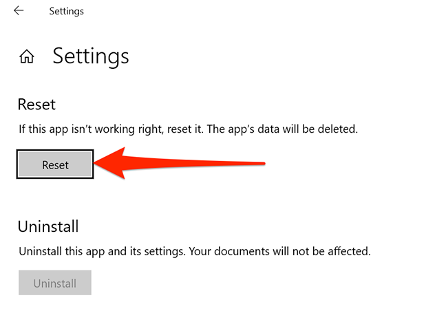 Reset button for the Settings app