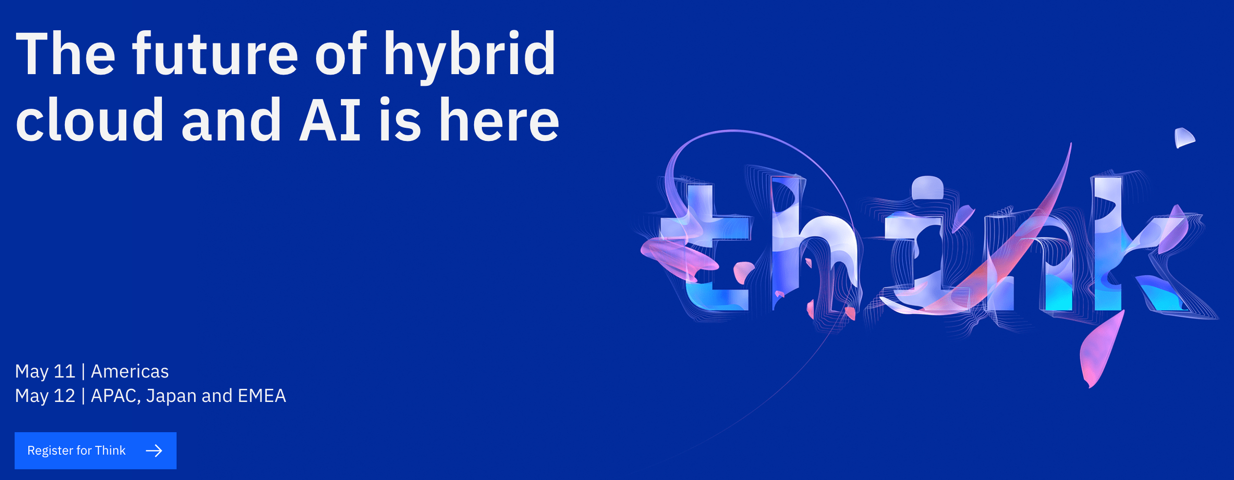 The IBM Think conference website homepage design