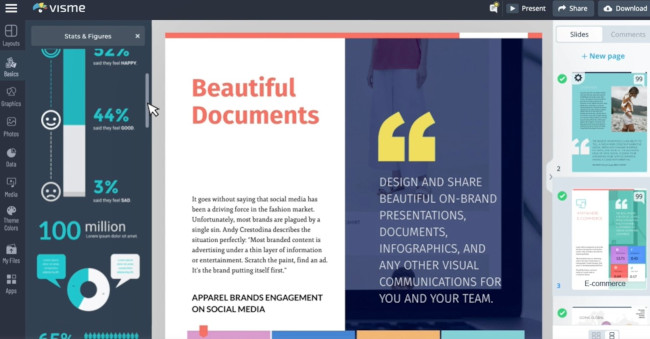 visme online design tool for making graphics and charts