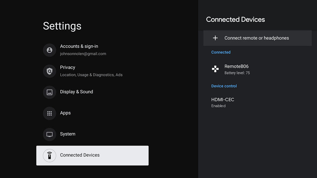 Accessory settings in LineageOS 18.1 for Android TV devices