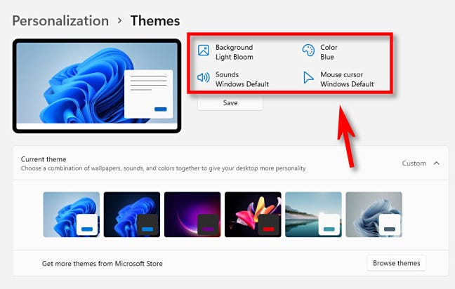 Click a link near the top of the themes window to change mouse, sound, color, or background settings.