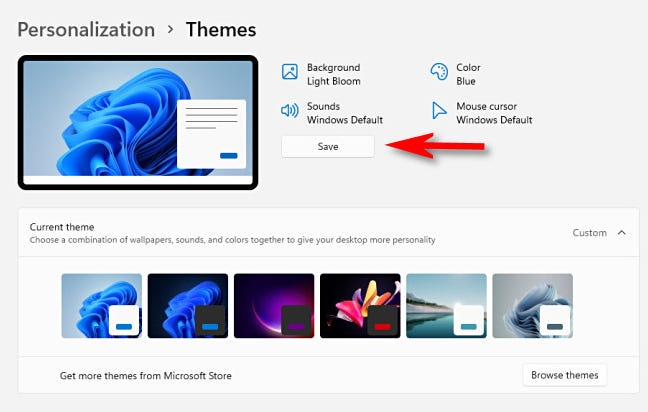 """Click """"Save"""" to save your current personalization settings as a custom theme."""