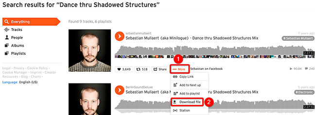 Select More > Download File for a song on the SoundCloud site.