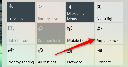Click Airplane mode in the notifications menu.