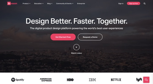 Home page of InVision