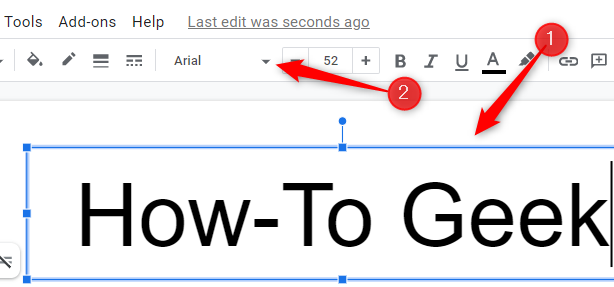 Select a text box and then click the down arrow next to the font name.