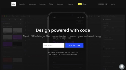 Home page of UXPin