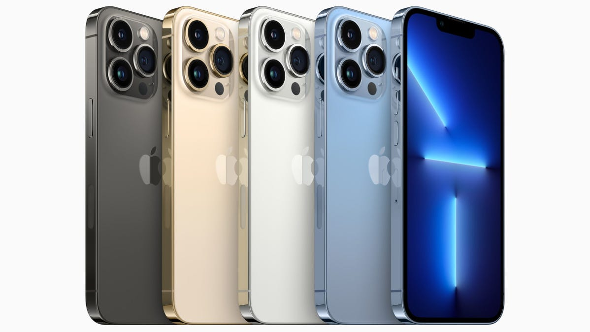 Apple's line of iPhone 13 Pro phones in four colors.