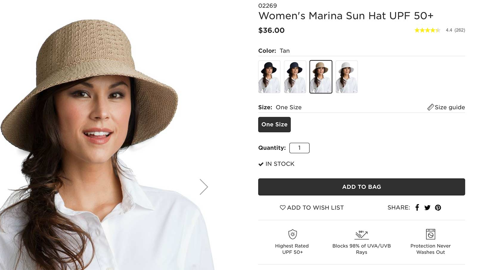 Coolibar product page with woman wearing a sun hat