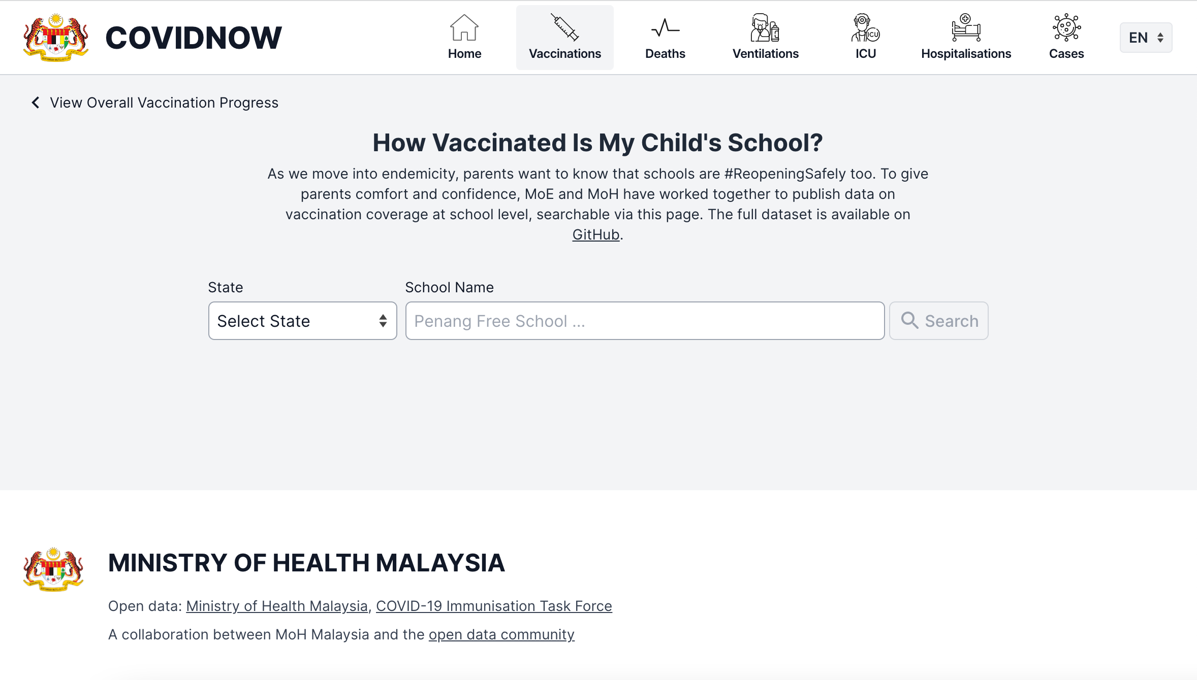 """""""school search"""" page for vaccination rate in schools"""