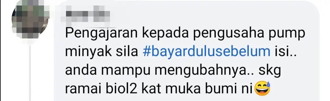 Netizen commenting on incident happened at bachok petrol station.